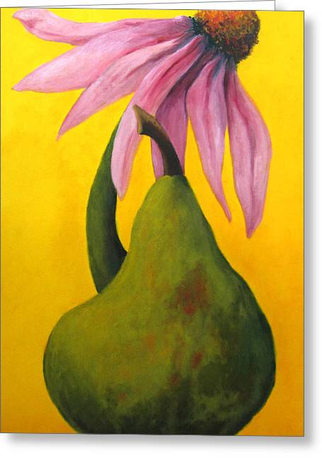 Pear And Coneflower II Greeting Card by Marie-louise McHugh