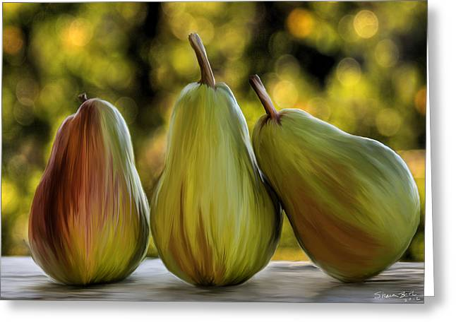 Greeting Card featuring the painting Pear Buddies by Sharon Beth