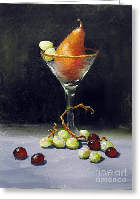 Greeting Card featuring the painting Pear Martini by Carol Hart