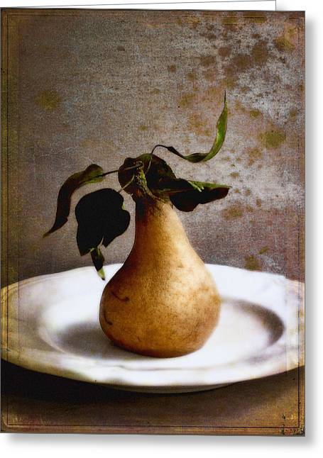 Pear On A White Plate Greeting Card