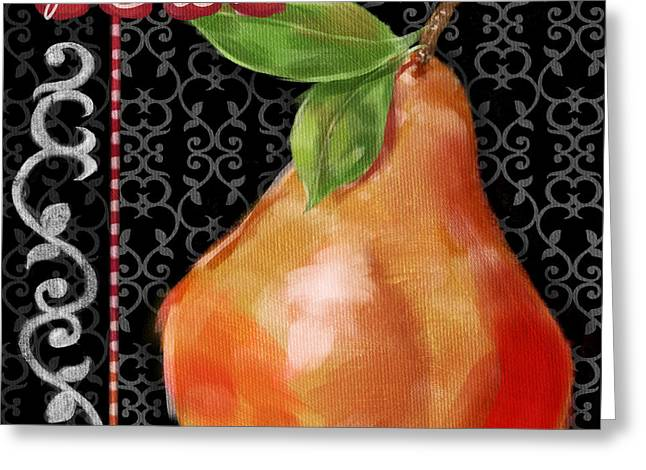 Pear On Black And White Greeting Card by Shari Warren