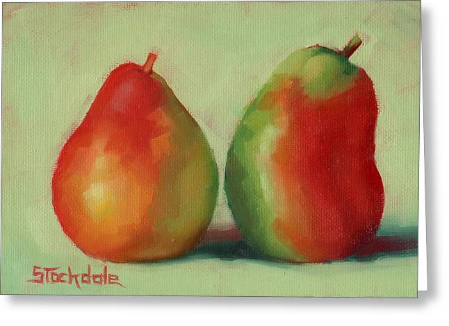 Greeting Card featuring the painting Pear Pair by Margaret Stockdale