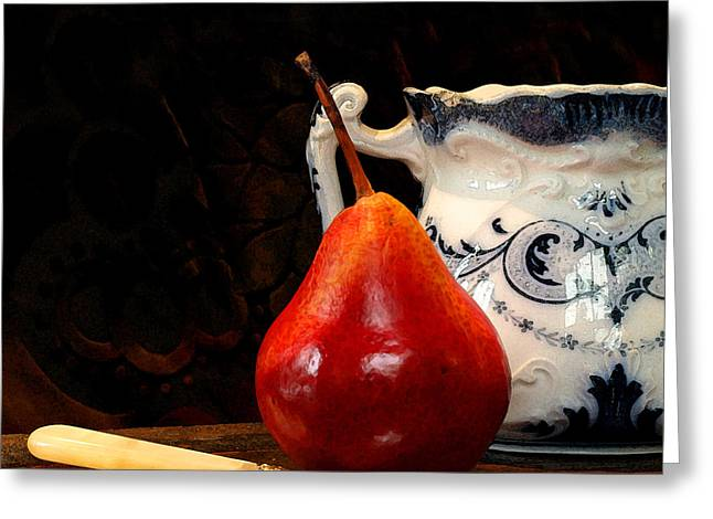 Pear Pitcher Knife Greeting Card