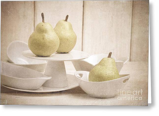 Pear Still Life With White Plates Greeting Card