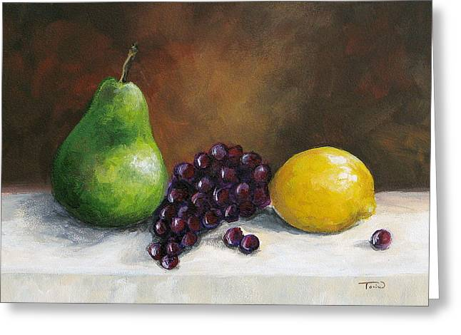Pear Study With Lemon Greeting Card
