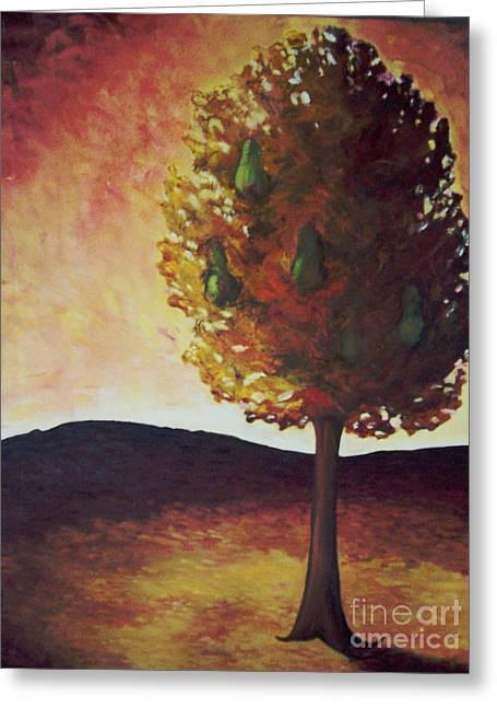 Pear Tree Greeting Card by Samantha Black