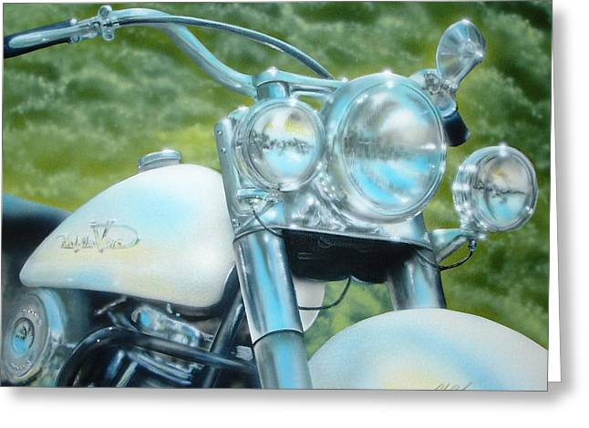 Greeting Card featuring the painting Pearl And Chrome by Chris Fraser