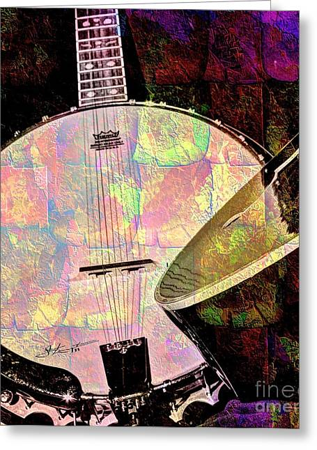 Pearl Digital Banjo And Guitar Art By Steven Langston Greeting Card by Steven Lebron Langston