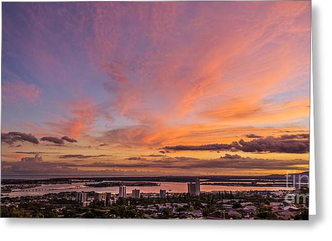 Greeting Card featuring the photograph Pearl Harbor At Sunset by Aloha Art