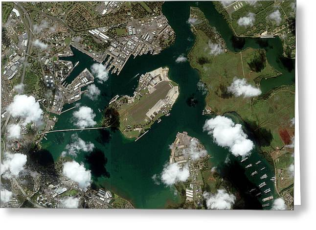 Pearl Harbour Greeting Card by Geoeye/science Photo Library