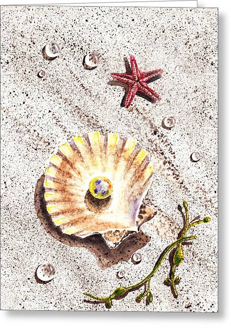 Pearl In The Seashell Sea Star And The Water Drops Greeting Card by Irina Sztukowski