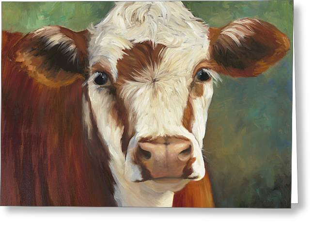Pearl Iv Cow Painting Greeting Card by Cheri Wollenberg