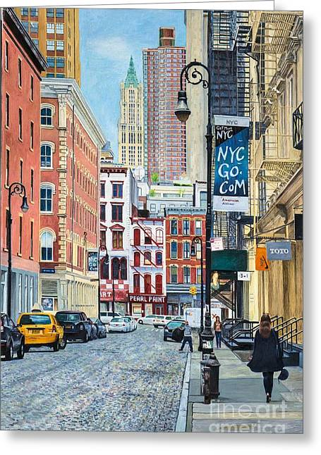 Pearl Paint Canal St. From Mercer St. Nyc Greeting Card by Anthony Butera