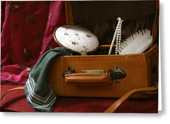 Pearls And Brush Set In A Suitcase Greeting Card