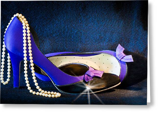 Pearls And Purple Pumps Greeting Card by Patti Deters
