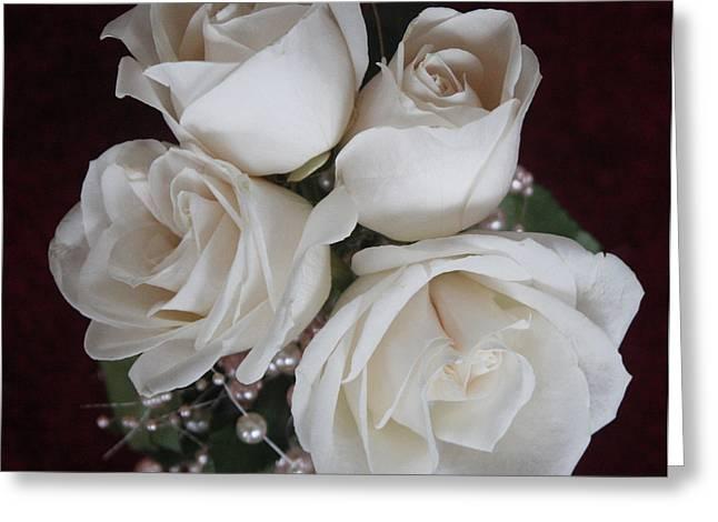 Pearls And Roses Greeting Card by Nancy TeWinkel Lauren