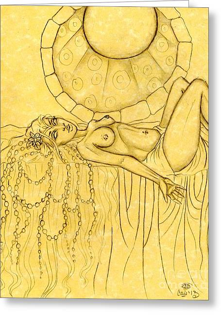 Pearls Entwined In Her Hair Sketch Greeting Card by Coriander  Shea