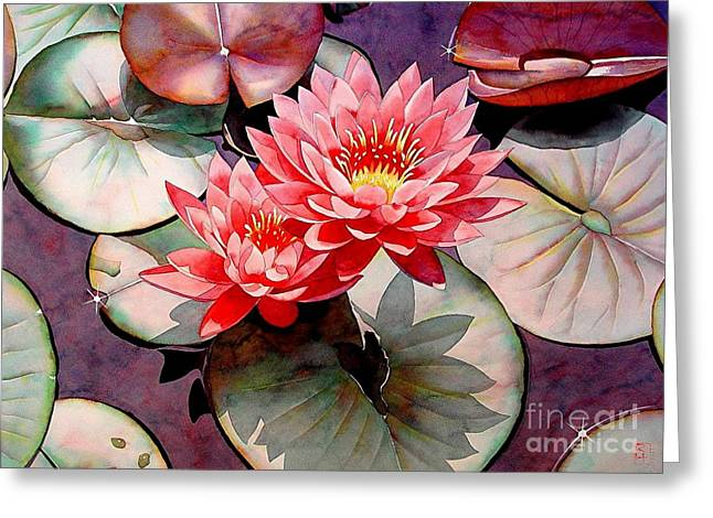 Pearls Of The Pond Greeting Card by Robert Hooper