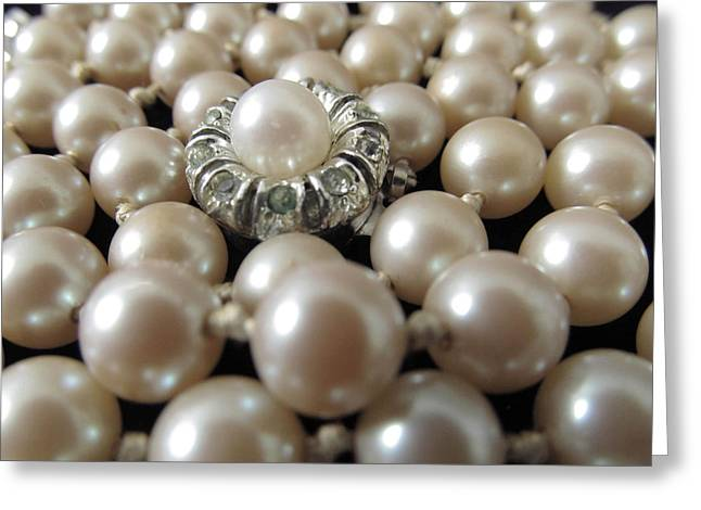 Pearls String Strand Vintage Hand Knotted Greeting Card by Diane McElhaney