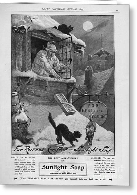 Pears  1899 1890s Uk Cc Sunlight Winter Greeting Card by The Advertising Archives