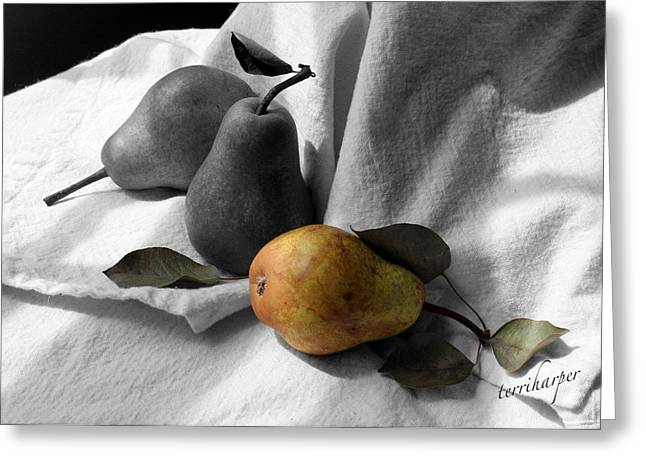 Greeting Card featuring the photograph Pears - A Still Life by Terri Harper