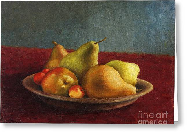 Pears And Cherries Greeting Card