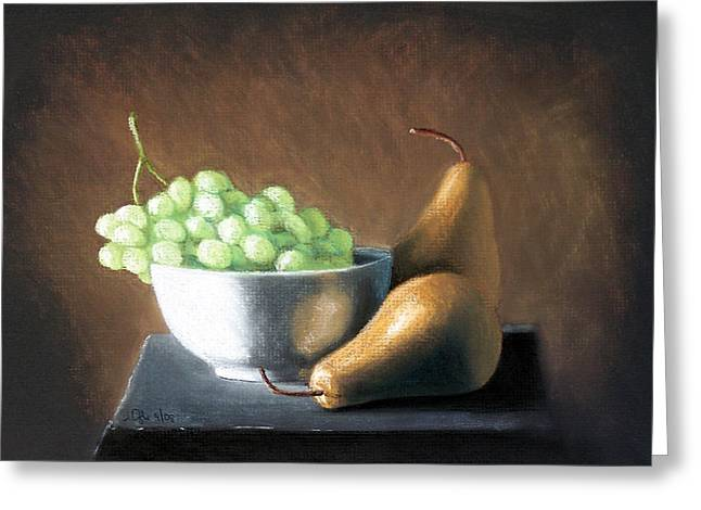 Pears And Grapes Greeting Card by Joseph Ogle