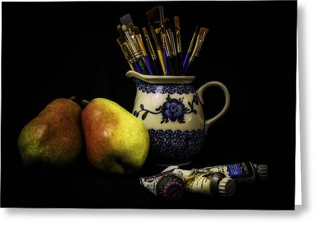 Pears And Paints Still Life Greeting Card by Jon Woodhams