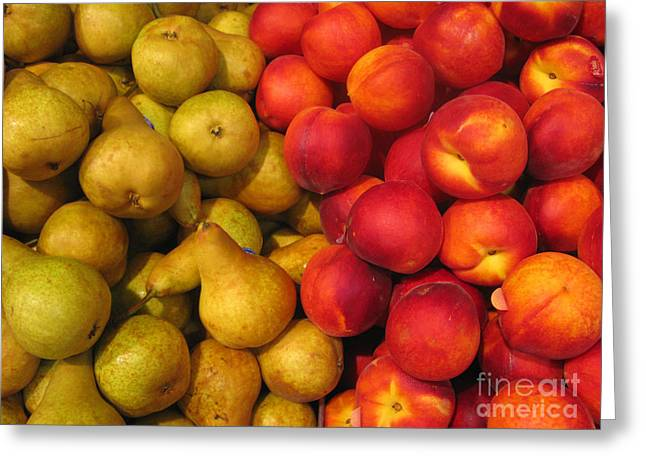 Pears And Peaches. Fresh Market Series Greeting Card by Ausra Huntington nee Paulauskaite