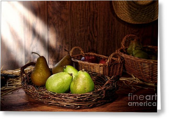 Pears At The Old Farm Market Greeting Card by Olivier Le Queinec