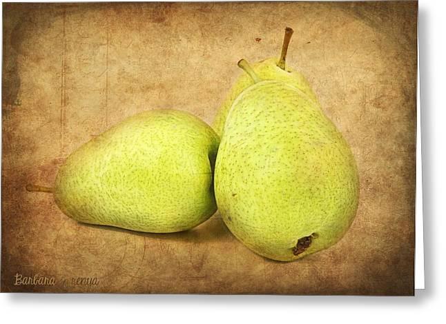 Pears Greeting Card by Barbara Orenya