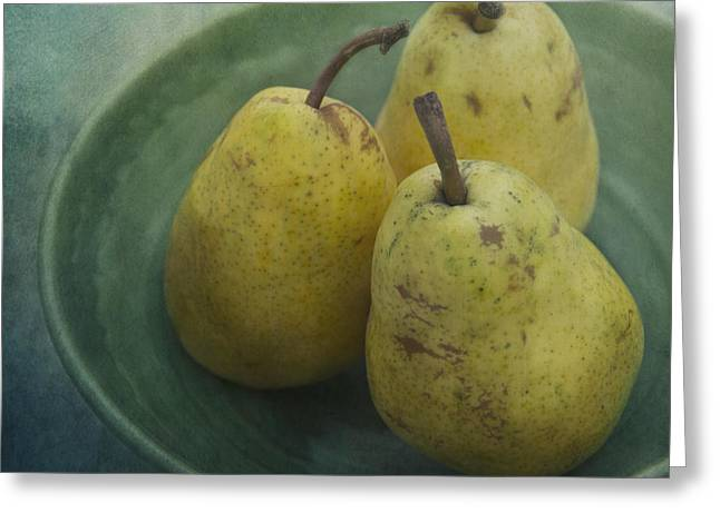 Pears In A Square Greeting Card by Priska Wettstein