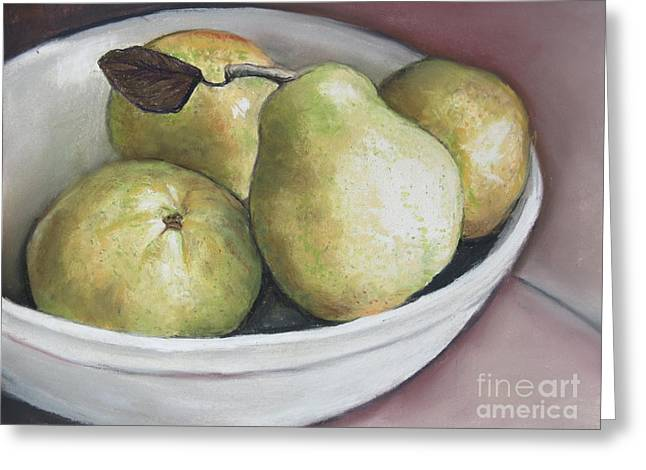 Pears In Bowl Greeting Card by Charlotte Yealey