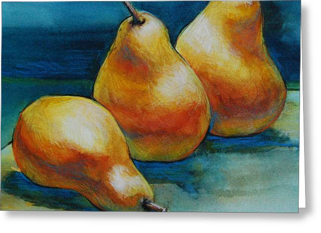 Pears Of Three Greeting Card by Jani Freimann