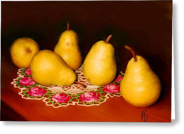 Pears On A Doily Greeting Card
