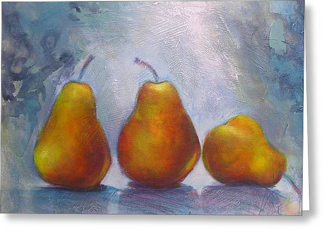 Greeting Card featuring the painting Pears On Blue Original Acrylic Painting by Chris Hobel