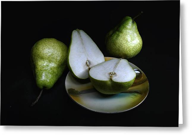 Pears On Noritake - Still Life Greeting Card