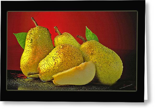 Pears On Red Background Greeting Card by Ed Hoppe