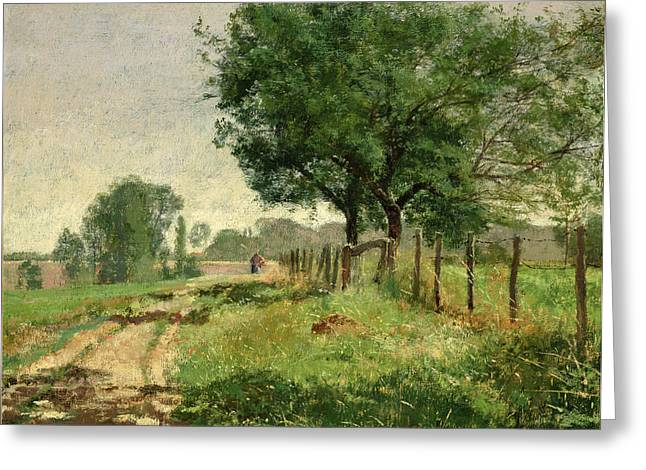 Peasant In The Fields Oil On Canvas Greeting Card