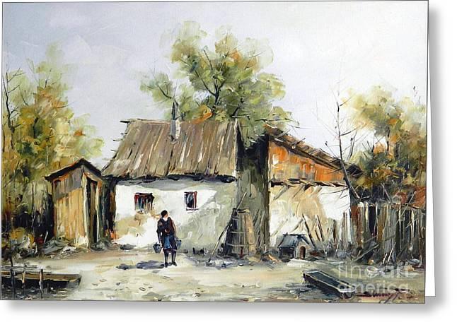 Peasant Yard Greeting Card by Petrica Sincu