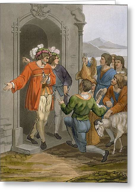 Peasants Giving Tithes, Alpine Region Greeting Card by Italian School