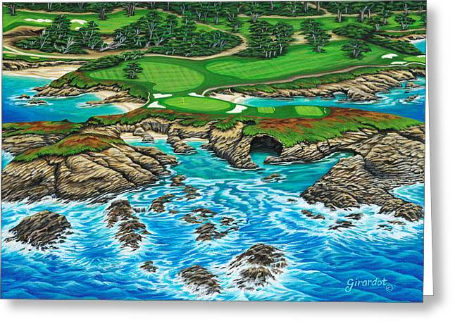 Greeting Card featuring the painting Pebble Beach 15th Hole-north by Jane Girardot