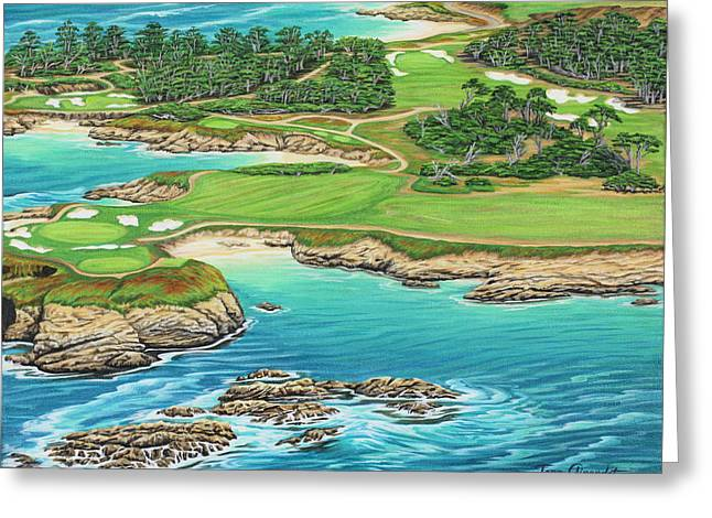 Greeting Card featuring the painting Pebble Beach 15th Hole-south by Jane Girardot