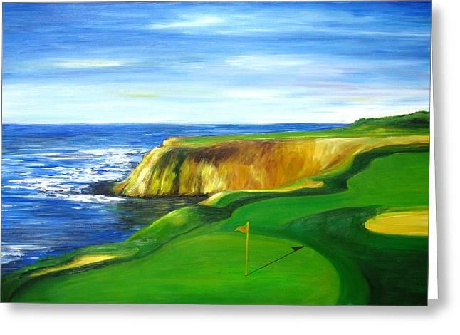 Pebble Beach Golf Course Greeting Card by Sheri  Chakamian