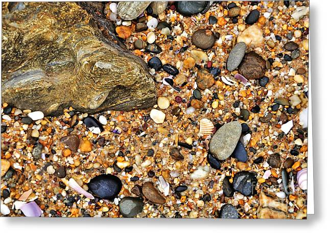 Pebbles And Sand Greeting Card by Kaye Menner