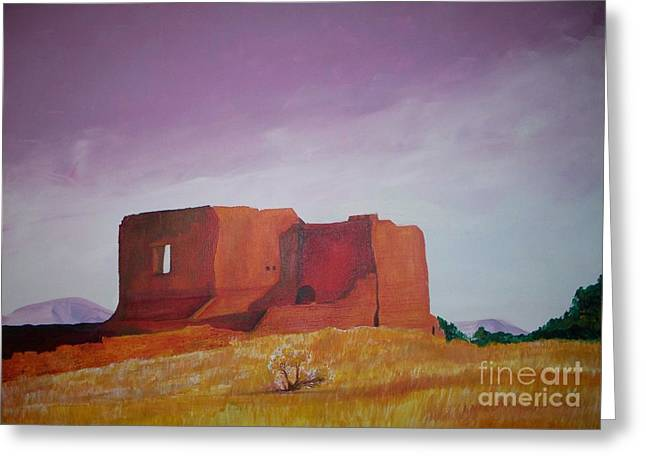 Pecos Mission Landscape Greeting Card by Eric  Schiabor