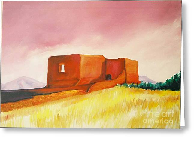 Greeting Card featuring the painting Pecos Mission Nm by Eric  Schiabor