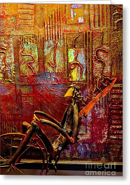 Pedaling On Rodeo Drive Greeting Card by Al Bourassa