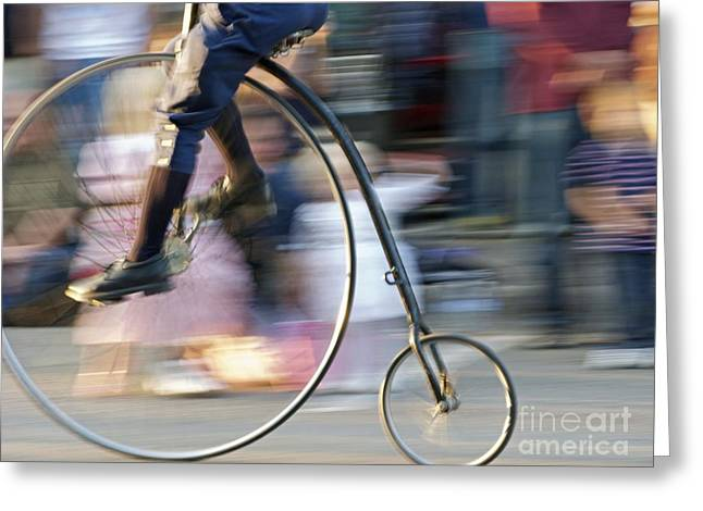 Pedaling Past Greeting Card by Ann Horn
