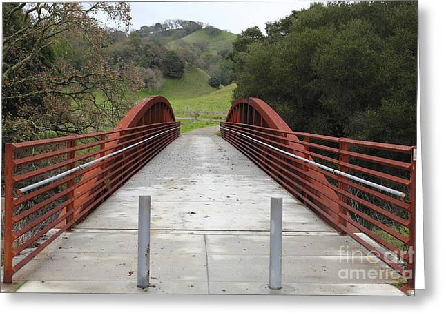 Pedestrian Bridge Fernandez Ranch California - 5d21031 Greeting Card by Wingsdomain Art and Photography